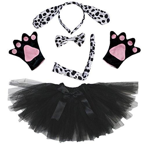 petitebelle Dalmatiens Chien Lady Costume Bandeau Nœud Papillon Queue Gants Tutu Noir - noir - Taille Unique