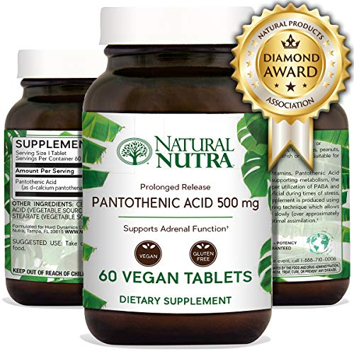 Natural Nutra Pantothenic Acid 500 mg, Vitamin B5 Supplement for Adrenal Support, Stress, Acne, Fat Metabolism and Energy, Time Release, 60 Vegan and Vegetarian Tablets