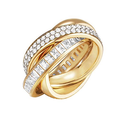 ESPRIT Glamour Damen-Ring ES-TRIDELIA GOLD teilvergoldet Zirkonia transparent Gr. 57 (18.1) - ESRG02258B180