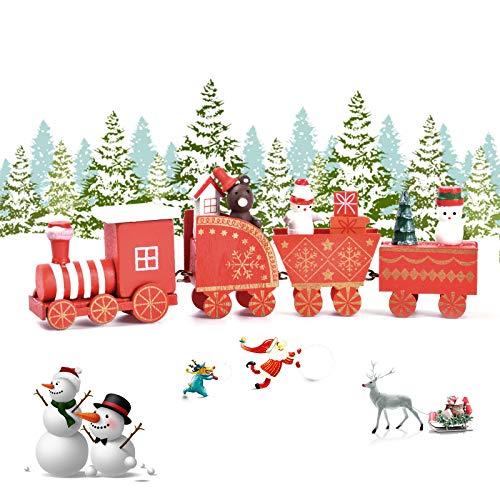 EKKONG Trenino Legno Natalizio Pista Trenino Legno,Treno di Natale in Legno Carino,Mini Trenini ,Decorazioni Natalizie,Festa di Natale del Decorativo (Rosso)