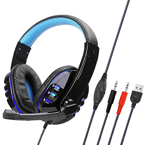 SY733MV Wired Computer Gaming koptelefoon Over-Ear-game-headset met microfoon AUX + USB-poort volumeregeling voor PC zwart en blauw