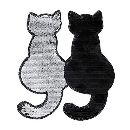 BESTOYARD 2 stücke Pailletten Bestickt Patches Katze geformt Patch Applique Tier DIY nähen auf Kleidung zubehör für Kleidung (schwarz)