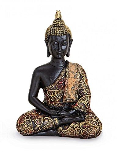 TEMPELWELT Deko Figur Buddha Statue Amithaba sitzend 15 cm hoch, Polystein schwarz Gold, Dhyani-Buddha Dekofigur Thai Buddha Statue Buddhafigur