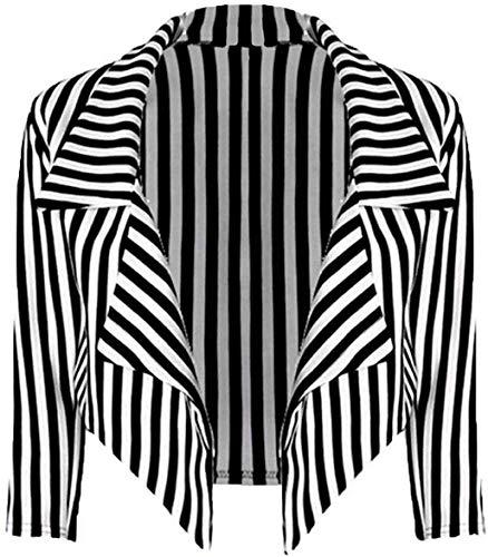 Nieuwe Womens zwart wit gestreepte Crop waterval Blazer dames Casual jas Stripe Blazer