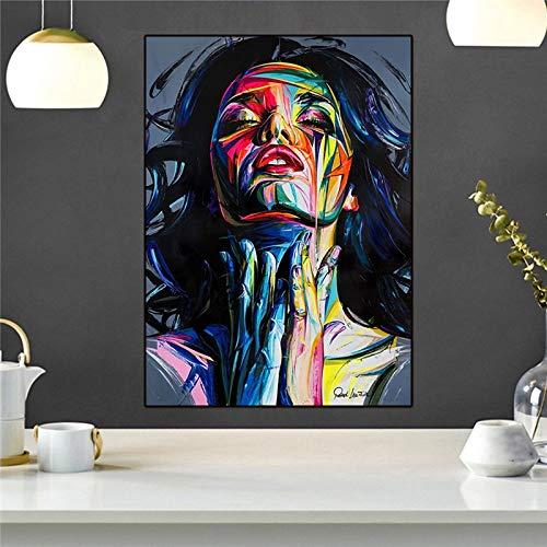 fdgdfgd Lienzo Retrato de Moda Chica Pintura al óleo Impresión Carteles Abstractos e Impresiones Lienzo Arte de la Pared Pintura al óleo Decoración