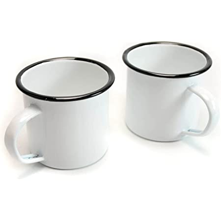 BARsics Camping Tin Enamel Mug with Handle Outdoor/Indoor 15 fl oz 450 ml (White 2-Pack)