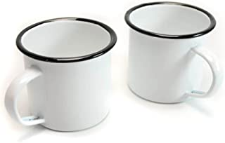 Sunny Gift Camping Enamel Mug Cup with Stainless Steel Rim 12 oz. 350 ml