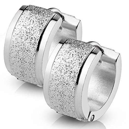 Bungsa Pendientes de plata con chorro de arena de 4 mm de acero inoxidable para mujeres y hombres