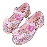 Eleasica Zapato de Princesa Cenicienta Azul Bailarina Rosa Princesa Aurora Zapato de Mini tacón Plateado Reina Elsa Diseño de Mariposa Punta Zapato de Lentejuelas de Vestir para niña
