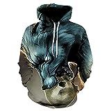 SONGWEOK Sudadera con Capucha con Estampado Digital de Lobo en 3D Chaqueta Tipo suéter para Hombres y Mujeres Sudadera con Capucha Informal para Hombres y Mujeres