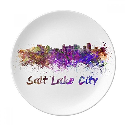 DIYthinker Ville Amérique Salt Lake City Aquarelle décorative Porcelaine Assiette à Dessert 8 Pouces Dîner Accueil Cadeau 21cm diamètre Multicolor