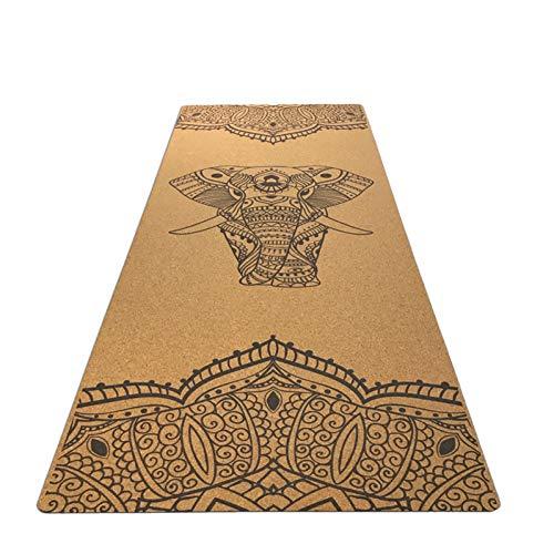 NOVBGTYF Comfortable Cork Exercise Fitness mat Natural Rubber Slip-Resistant Yoga Best Yoga mat Fitness Rubber mat