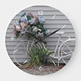 daoyiqi 15 Inch Wall Clock, Beach Bicycle Large Clock, Silent Non Ticking Quality Quartz Wood Clock for Bedroom, Living Room Home Decor