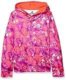 Hanes Girls' Boys Tech Fleece Raglan Pullover Hoodie, Cloud Floral/Pink Orange, Medium
