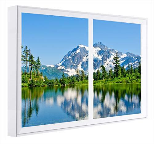 CCRETROILUMINADOS Reflejo en el Lago Ventanas Falsas Cuadros Decorativos con luz, Metacrilato, Blanco, 80 x 80 x 6.5 cms