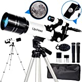 Upchase Telescopio Astronomico,Portátil y Potente Refractor Telescopio,400/70mm Zoom HD,Ajustable Trípode, Adaptador Móvil, Apto Adultos, Niños y Principiantes,Observer la Luna,Aves,Regalo para Niños