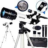 Upchase Telescopio Astronomico,Portátil y Potente Refractor Telescopio,400/70mm Zoom HD,Ajustable Trípode, Adaptador Móvil, Apto Adultos, Niños y...