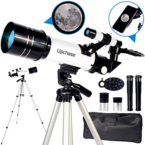 Upchase Telescopio Astronomico,Portátil y Potente Refractor Telescopio,400 70mm Zoom HD,Ajustable Trípode, Adaptador Móvil, Apto Adultos, Niños y Principiantes,Observer la Luna,Aves,Regalo para Niños
