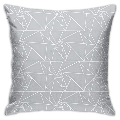 N/Q 45X45cm Throw Pillowcase,Stylized White Border On Light Gray Background Square Outdoor Pillowcase Sofa Cover Decorative Cushion Cover, Soft, Used for Car Bed Living Room