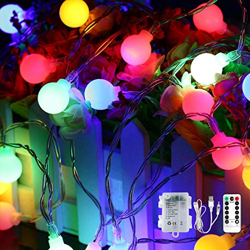 Fairy Lights 15M 120LED Led Colorful String Lights USB or Battery Operated with Remote Control Timer for Bedroom Home Wedding Indoor Outdoor Decor, 8 Lighting Modes, Waterproof