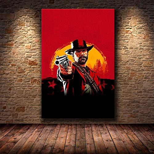 Yiwuyishi Red Dead Redemption 2 Juego Póster de Lienzo Arte de la Pared Impresión de Pintura Imagen de Papel Tapiz Decorativo para Sala de Estar 50x70cm P-926