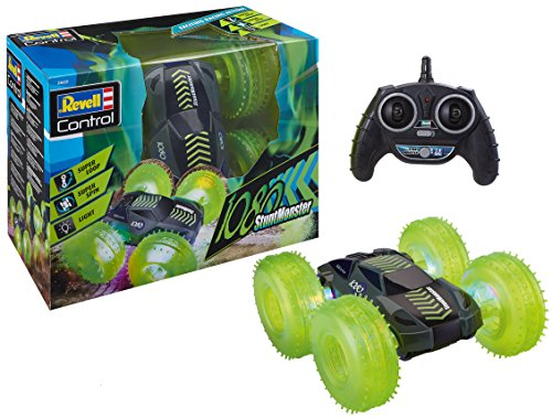 Revell Control 24633 RC Car StuntMonster 1080, 2.4GHz, 4WD Allrad, mit Überschlagfunktion, beidseitig fahrbar, neongrüne Reifen mit LED, 24 cm