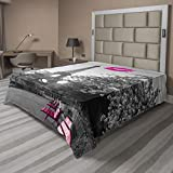 Ambesonne Paris Flat Sheet, Romantic Monochrome Photo of Eiffel Tower Pink Benches and a Kiss Mark, Soft Comfortable Top Sheet Decorative Bedding 1 Piece, Queen Size, Grey Magenta