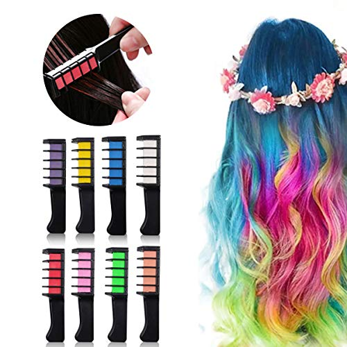 8 Colors Hair Chalk for Kids Hair Chalk Comb Temporary Bright Hair Color Dye Gift for Girl Toys...