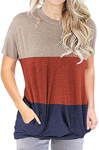 Unidear Womens Color Block T Shirts Casual Short Sleeve Crew Neck Tunic Tops #2Khaki M