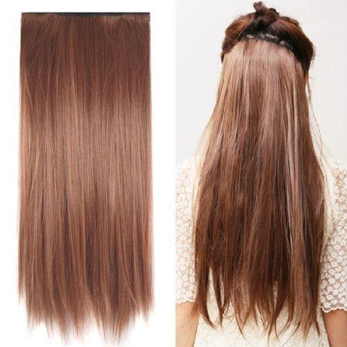 SODIAL(R) Perruque/Cheveux postiches Brun Long Droit Pour les femmes