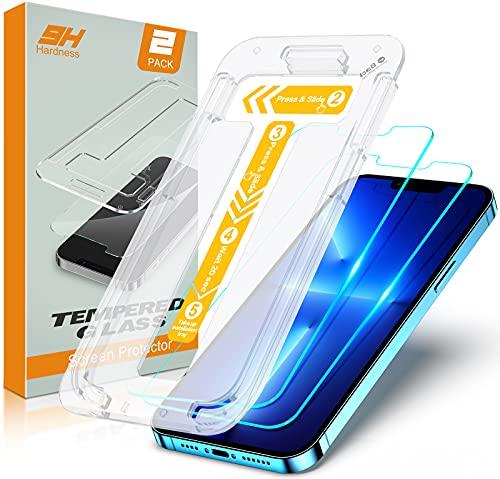 Cocoda Verre Trempé Compatible avec iPhone 13 Pro Max 6.7 Pouces, 2 Pièces, avec Cadre d'Installation Sans Bulles d'Air, 9H Dureté, Résistant aux Rayures, Ultra Transparent Vitre Protection Écran 2021