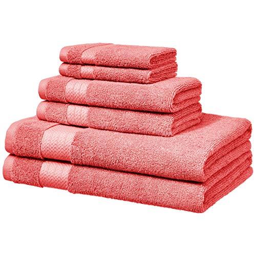 Amazon Basics Performance Serviettes de toilette - 2 serviettes de bain, 2 essuie-mains et 2 gants de toilette, Rose corail