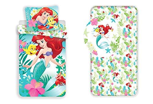 LesAccessoires Juego de cama de 3 piezas de Disney Princesas Ariel Sirenita, funda nórdica + funda de almohada + sábana bajera ajustable 100% algodón