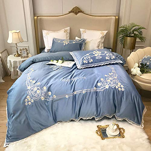 Duvet Cover Set,Pure Cotton Embroidery Four-piece Set Pure Cotton Ice Silk Duvet Cover Pure Cotton Bed Sheet Pillowcase Double 1.8 2.0m Bedding Set Stylish and comfortable