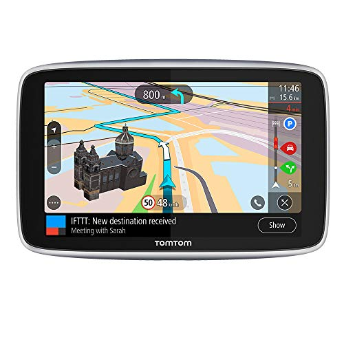 TomTom Navigationsgerät GO Premium (5 Zoll, Stauvermeidung dank TomTom Traffic, Karten-Updates Welt, Updates über WiFi, Freisprechen, hochwertige Halterung)