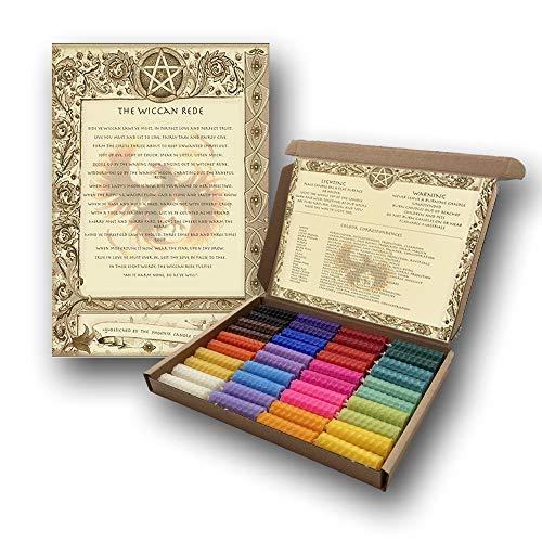 40 Mini Zauberkerzen Set – Mehrfarbig – natürliches Bienenwachs – handgerollt – Ritualkerzen – Zauberkerzen – für Hexen – heidnische Wicca-Zubehör