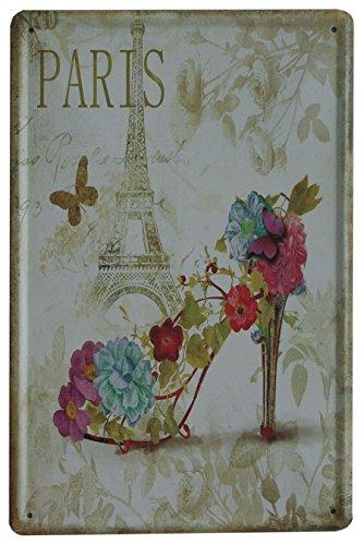 SuperStudio Lo + deModa hcn750 – 87 – Tableau en métal imprimé Vintage Paris Shoe 20 x 30 cm, Multicolore