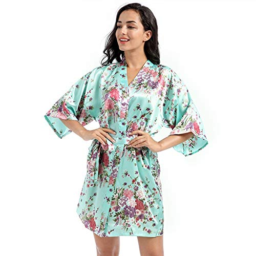 Nachtkleding Pyjama Nightgown Dames Satin Kimono Robe Badjassen Badjas For Spa Bruiloft Verjaardag Robe, Women's Nachthemd Pyjama Bruids Robes (Color : Light green, Size : L)
