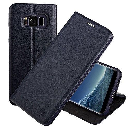 Nouske Custodia a Portafoglio per Samsung Galaxy S8 Plus/Guscio Antiurto in TPU/Porta Carta di Credito/Funzione di Supporto/Design Semplice e supersottile/Chiusura maghetica,Blu Marino
