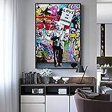 wanmeidp Folgen Sie Ihrem Traum Straße Graffiti Wand Kunst Leinwand Gemälde abstrakte Einstein Popart Leinwand für Kinderzimmer Dekoration 50x75cm