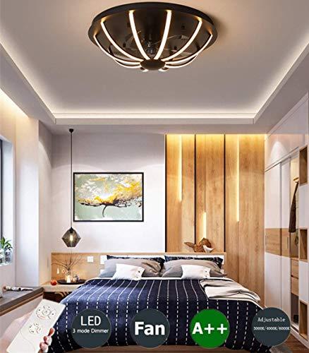 Ventiladores para el Techo con lámpara, Y Control Remoto Tranquilo Dormitorio 3-Color Temperatura Regulable Ronda La Sala Comedor Decoración Fanlampe, Negro