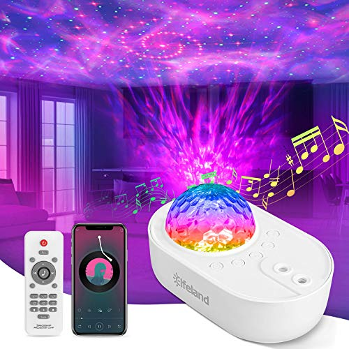 Star Night Light Projector, Elfeland Galaxy Lights with Music Speaker & 3 White Noises, Remote Control for Home/Party Decor Dimmable Starry Projector with Music Function and Timer for Kids, Adults