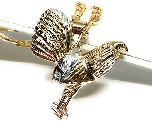 Gold Plated Tri-Color Chicken Rooster Pendant Necklace Figaro 26