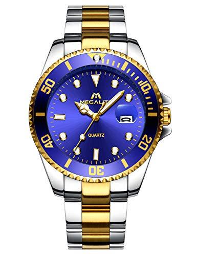 MEGALITH Herrenuhr Gold Edelstahl Herren Armbanduhr Wasserdicht Uhren fur Männer Blau Zifferblatt Designer Uhr Leuchtende Analog Datum