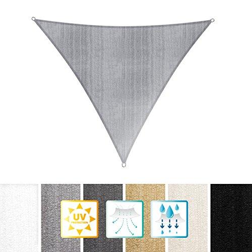 Lumaland Sonnensegel Dreieck 4 x 4 x 4 m - inkl. Befestigungsseile - Wasserabweisend, Wetterbeständig, 100% HDPE mit UV Schutz - Sonennschutz, Schattenspender, Wetterschutz - Hellgrau