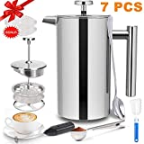 French Press Coffee Maker (34 OZ), French Press Stainless Steel with 2 French Press Filters, Milk Frother and Coffee Scoop, Camping Coffee Maker French Coffee Press Stainless Steel Coffee & Tea Maker.