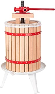 Prensa De Vino De Fruta 1,6 Litros (6 Litros) Sidra Cesta De Madera Maciza Fruta Y Vino Prensa Doméstica Manual Sidra De Manzana Uva Royala Trituradora Juice Maker