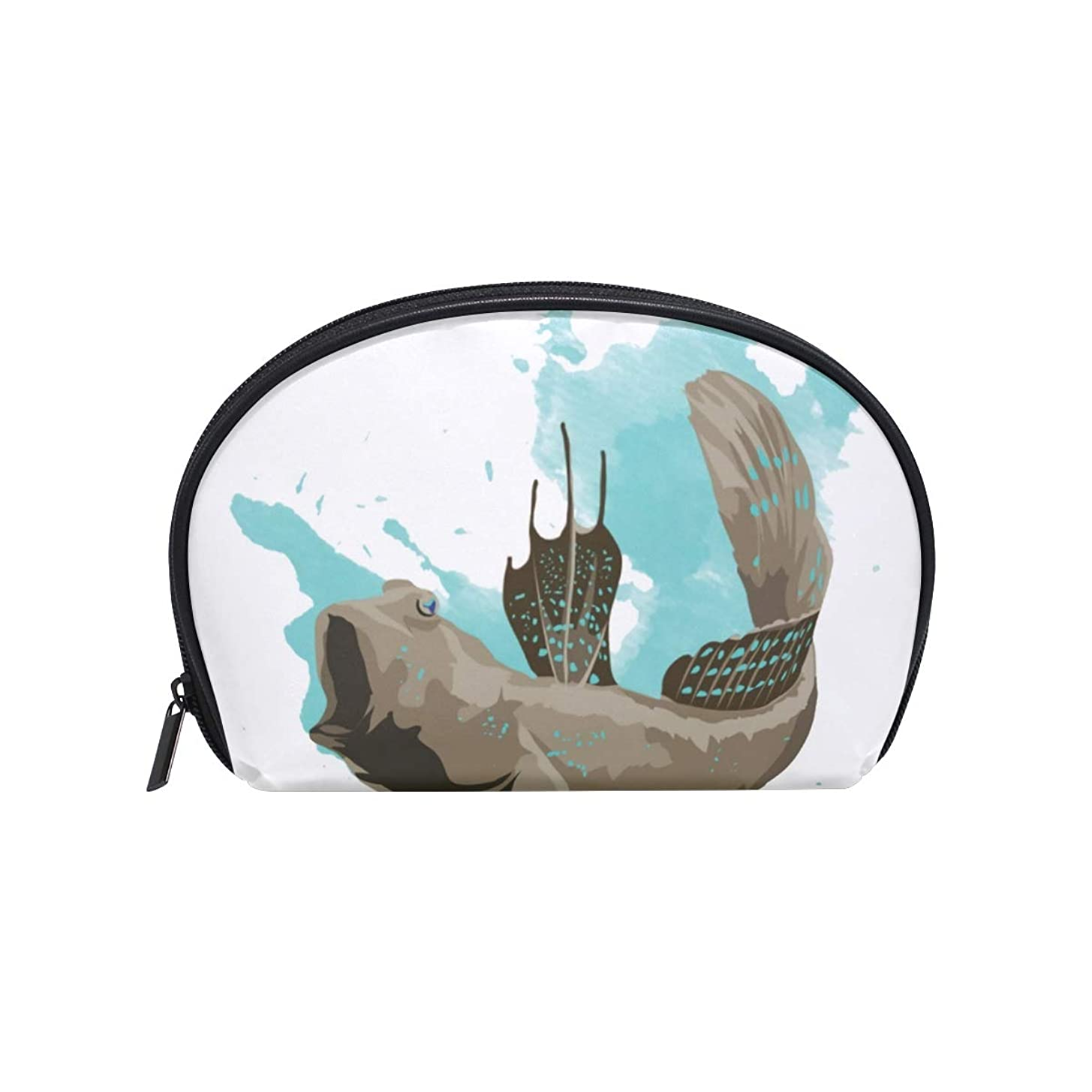 ジャンクデッキパンダ半月型 青い斑点柄 ついたマッドスキッパー 化粧ポーチ コスメポーチ コスメバッグ メイクポーチ 大容量 旅行 小物入れ