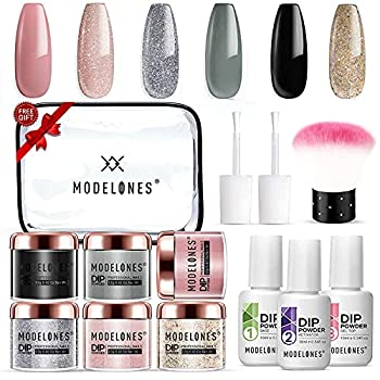 6 Colors Dip Powder Nail Kit Starter Modelones Acrylic Dipping Powder System Essential Liquid Set with Top/Base Coat Activator for French Nail Art Manicure Extension Beginner DIY Salon