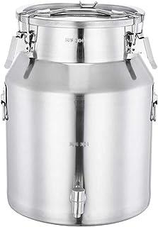 バケツ、蛇口を持つ世帯密封されたタンクを密封されたステンレス鋼は、油、米、牛乳、ワイン、ストレージバケツ、大容量の輸送バケツ、21-45Lを保存することができます (Color : Silver, Size : 35L)